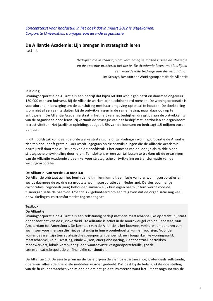 Concepttekst voor hoofdstuk in het boek dat in maart 2012 is uitgekomen:Corporate Universities, aanjager van lerende organ...