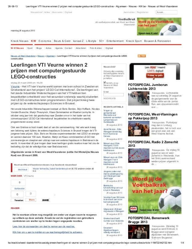 26-08-13 Leerlingen VTI Veurne winnen 2 prijzen met computergestuurde LEGO-constructies - Algemeen - Nieuws - KW.be - Nieu...