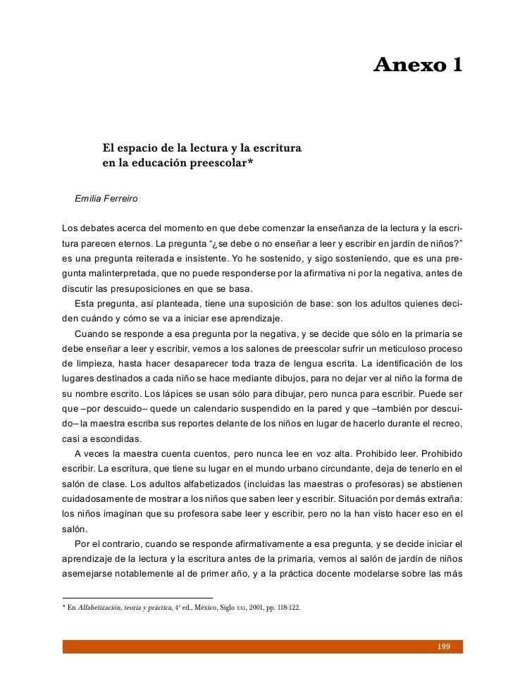 Anexo 1              El espacio de la lectura y la escritura              en la educación preescolar*    Emilia FerreiroLo...