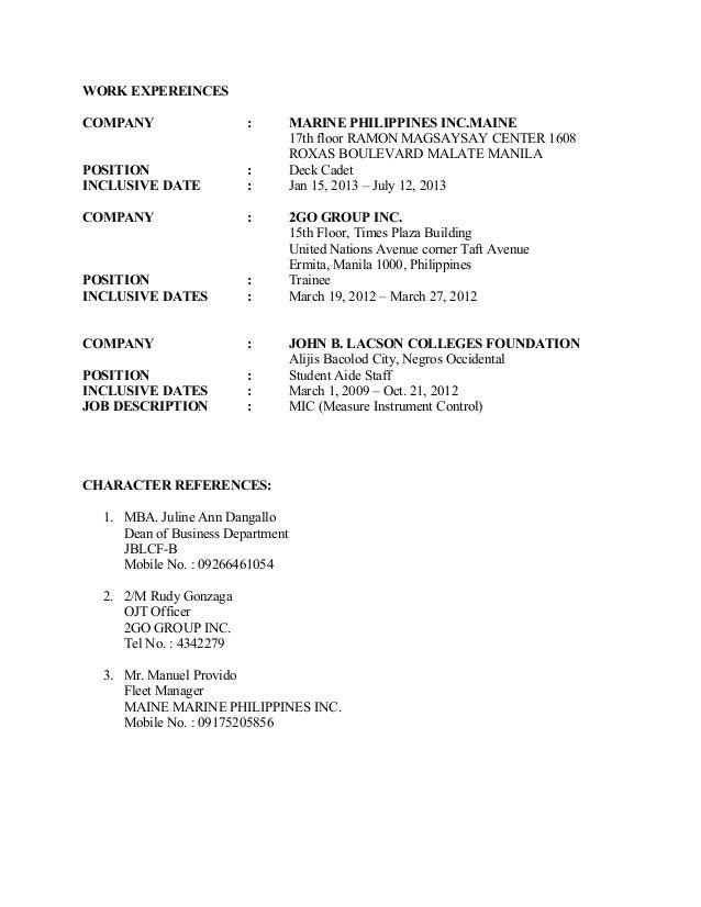 resume sample resume for fresh graduate marine transportation deck cadet resume format for apprentice marine chief - Sample Resume For Marine Engineering Cadet