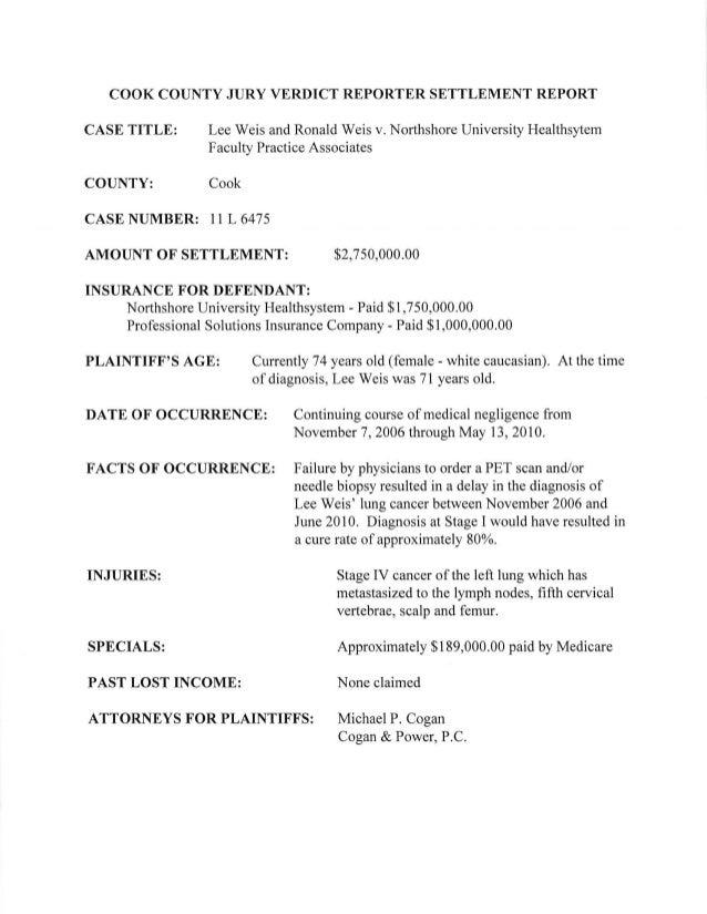 Lee Weis settlement report