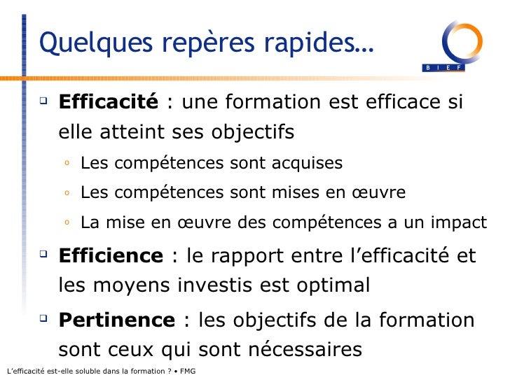 L'efficacité est-elle soluble dans la formation ?  Slide 2