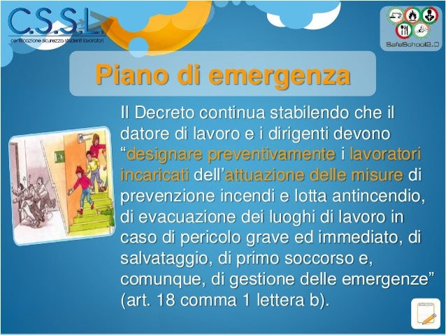 Le figure di sistema (organigramma e piano di evacuazione ...
