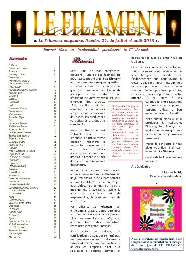 ¤¤ Le Filament magazine. Numéro 31, de juillet et août 2013 ¤¤ Journal libre et indépendant paraissant le 1er du mois SSoo...