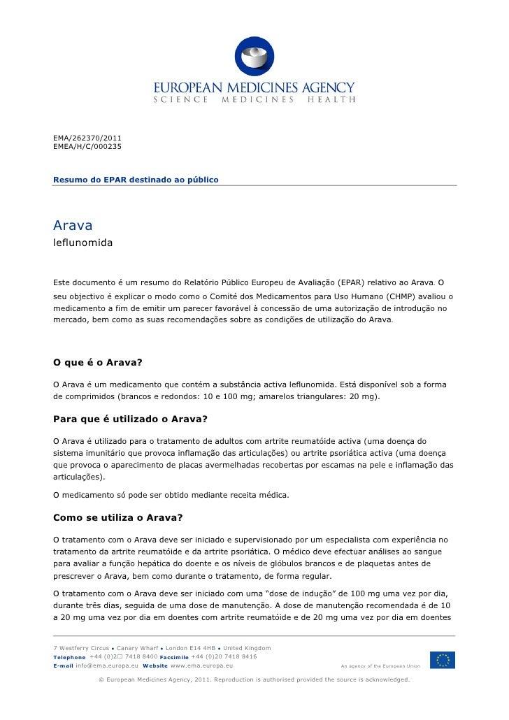EMA/262370/2011EMEA/H/C/000235Resumo do EPAR destinado ao públicoAravaleflunomidaEste documento é um resumo do Relatório P...