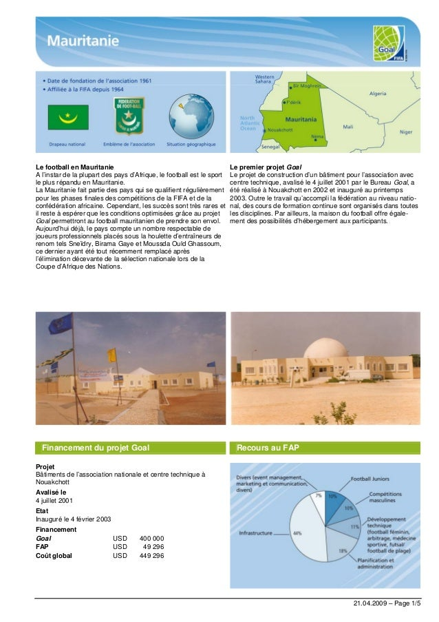 21.04.2009 – Page 1/5 Le football en Mauritanie A l'instar de la plupart des pays d'Afrique, le football est le sport le p...