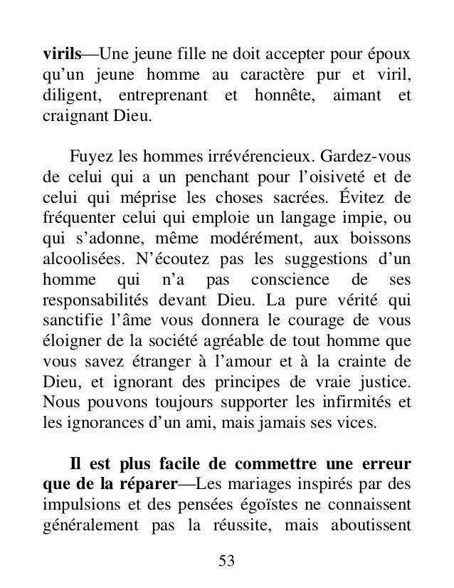 53 virils—Une jeune fille ne doit accepter pour époux qu'un jeune homme au caractère pur et viril, diligent, entreprenant ...