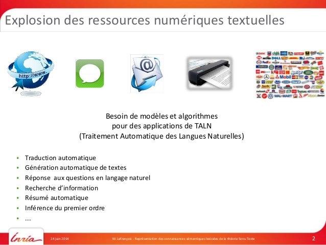 Ph.D. Defense: Représentation des connaissances sémantiques lexicales de la Théorie Sens-Texte Slide 2