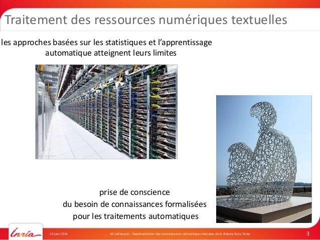 Ph.D. Defense: Représentation des connaissances sémantiques lexicales de la Théorie Sens-Texte Slide 3