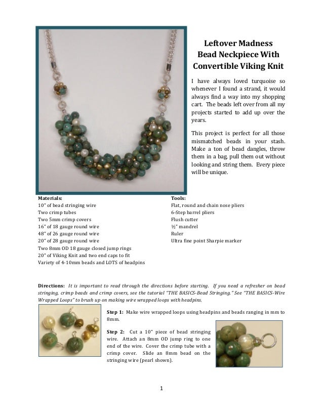 Leftover Madness Bead Neckpiece With Convertible Viking Knit I have always loved turquoise so whenever I found a strand, i...