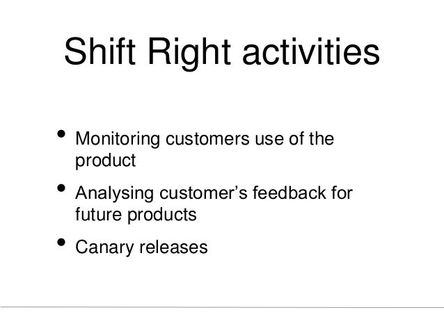 Shift Right activities • Monitoring customers use of the product • Analysing customer's feedback for future products • Can...