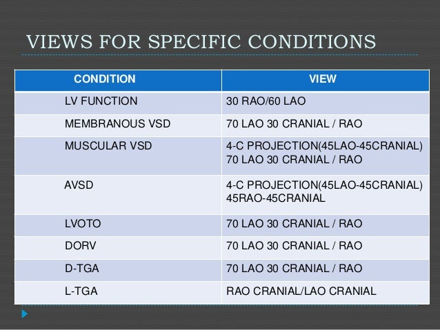 VIEWS FOR SPECIFIC CONDITIONS CONDITION VIEW LV FUNCTION 30 RAO/60 LAO MEMBRANOUS VSD 70 LAO 30 CRANIAL / RAO MUSCULAR VSD...