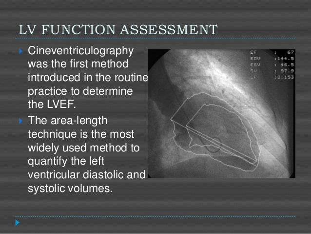 LV FUNCTION ASSESSMENT  Cineventriculography was the first method introduced in the routine practice to determine the LVE...