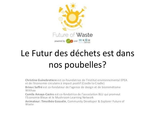 Le Futur des déchets est dans  nos poubelles?  Christine Guinebretiere est co-foundatrice de l'institut environnemental EP...