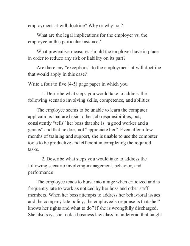 Employment-at-Will Doctrine Essay Sample