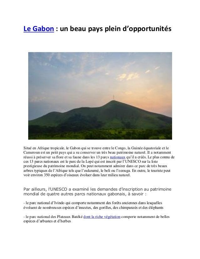 Le Gabon : un beau pays plein d'opportunités Situé en Afrique tropicale, le Gabon qui se trouve entre le Congo, la Guinée ...