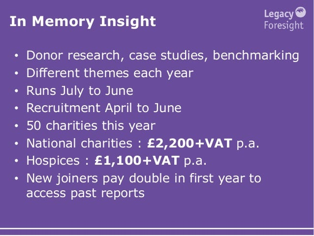In Memory Insight • Donor research, case studies, benchmarking • Different themes each year • Runs July to June • Recruitm...
