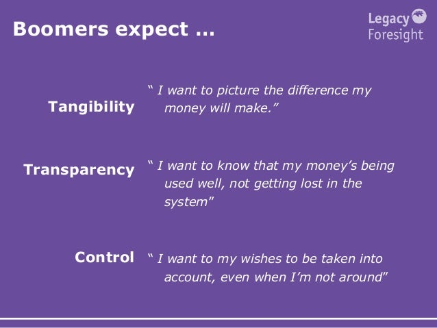 """Boomers expect … Tangibility Transparency Control """" I want to picture the difference my money will make."""" """" I want to know..."""