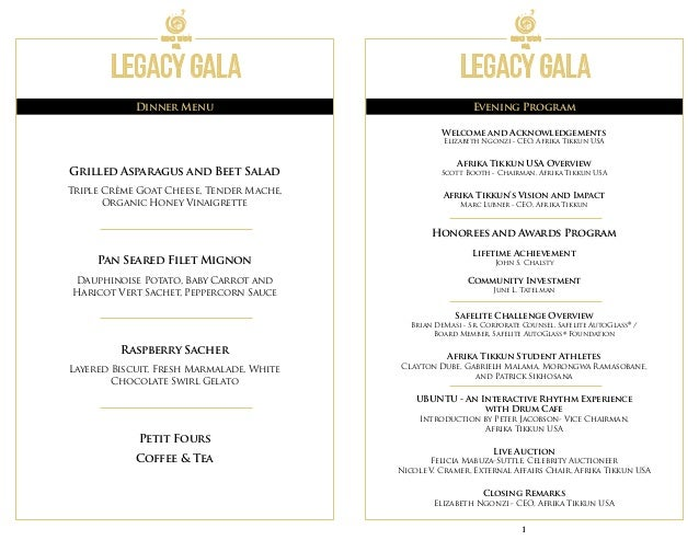 Afrika Tikkun Usa Legacy Gala Event Program