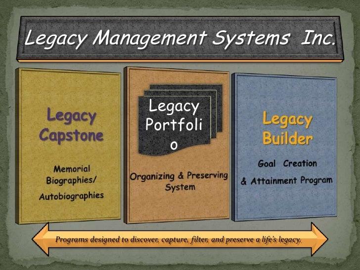 Legacy <br />Portfolio<br />Programs designed to discover, capture, filter, and preserve a life's legacy.<br />