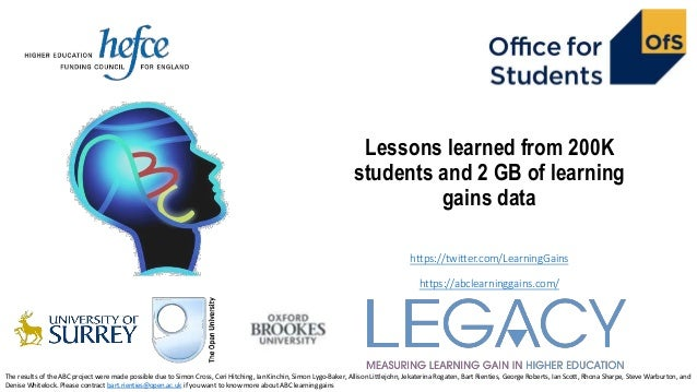 Lessons learned from 200K students and 2 GB of learning gains data https://twitter.com/LearningGains https://abclearningga...