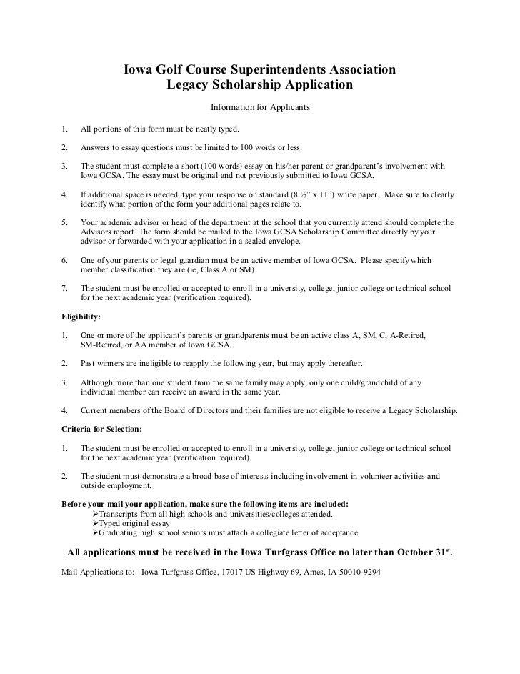 Iowa Golf Course Superintendents Association                       Legacy Scholarship Application                         ...