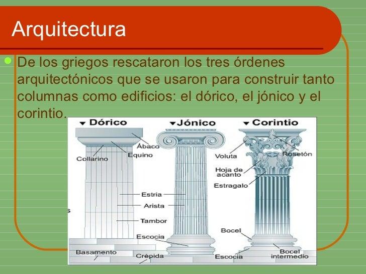 Arquitectura <ul><li>De los griegos rescataron los tres órdenes arquitectónicos que se usaron para construir tanto columna...