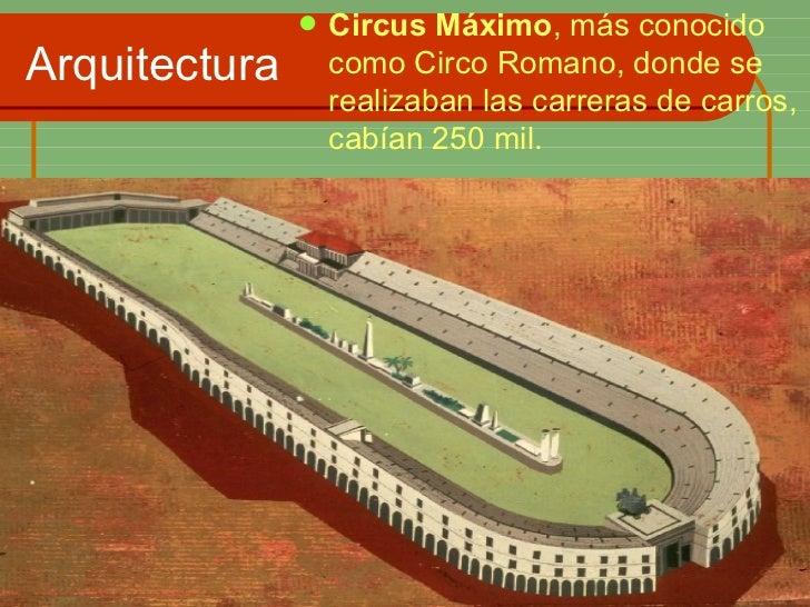 Arquitectura <ul><li>Circus Máximo , más conocido como Circo Romano, donde se realizaban las carreras de carros, cabían 25...
