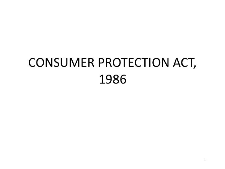 CONSUMER PROTECTION ACT,         1986                           1