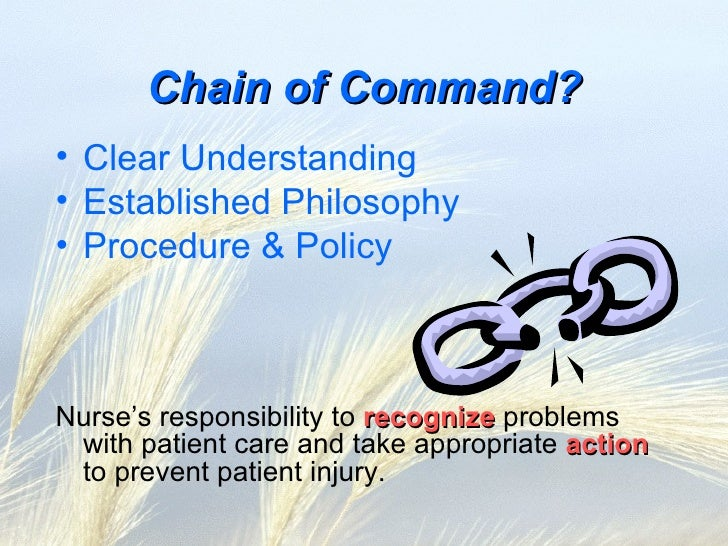 why chain of command is important A chain of command is necessary to keep order and control if there was no chain of command, workers would do as they wanted, with no one responsible.