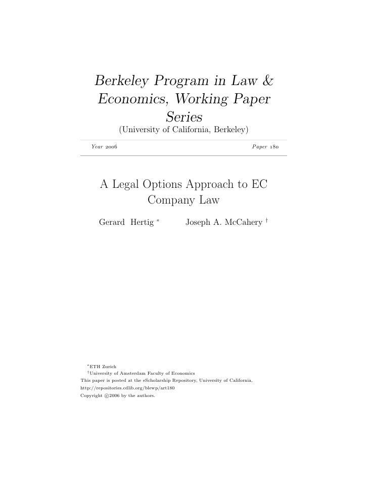 Berkeley Program in Law &       Economics, Working Paper                 Series                   (University of Californi...