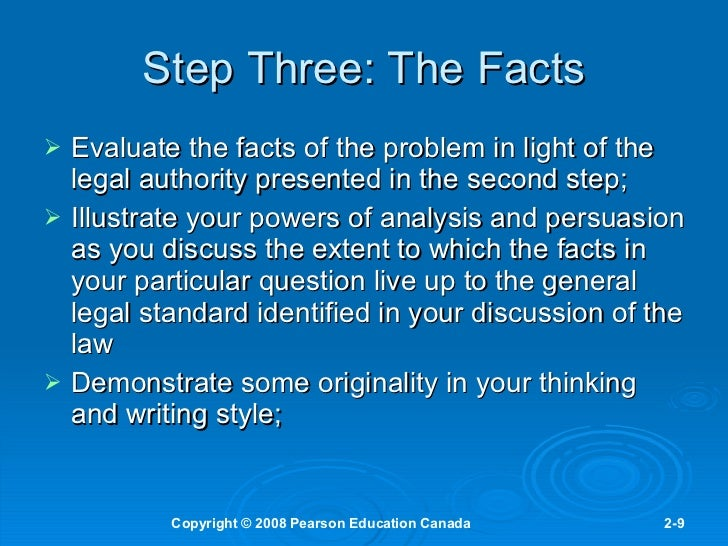 8 eight steps of legal reasoning As with all arguments, legal arguments contain at least one premise and can be   many law textbooks refer to inductive reasoning as the process of going from.