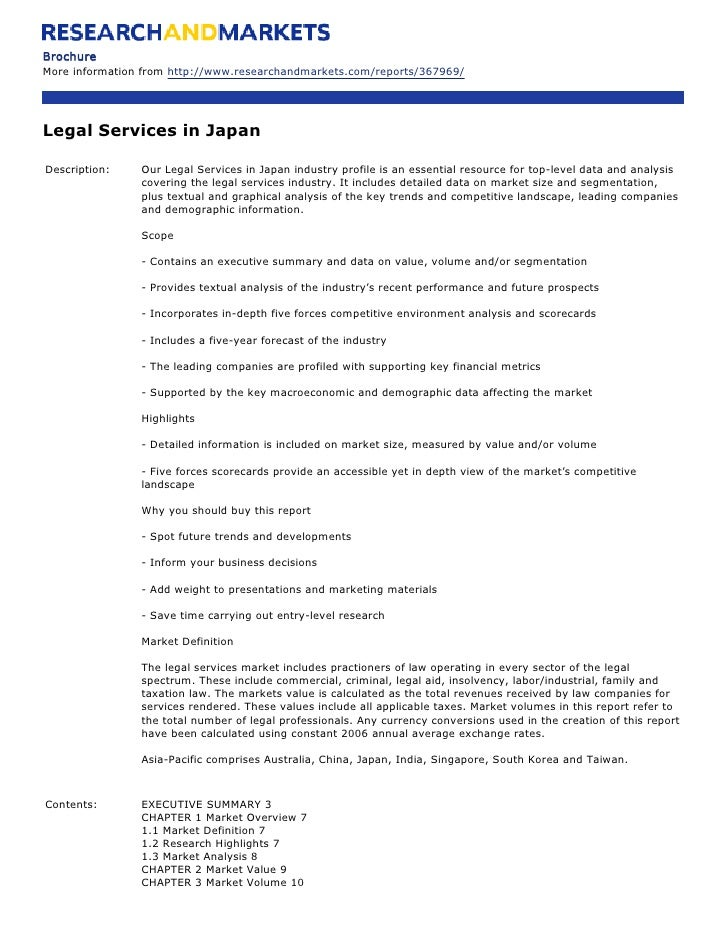 Brochure More information from http://www.researchandmarkets.com/reports/367969/     Legal Services in Japan  Description:...