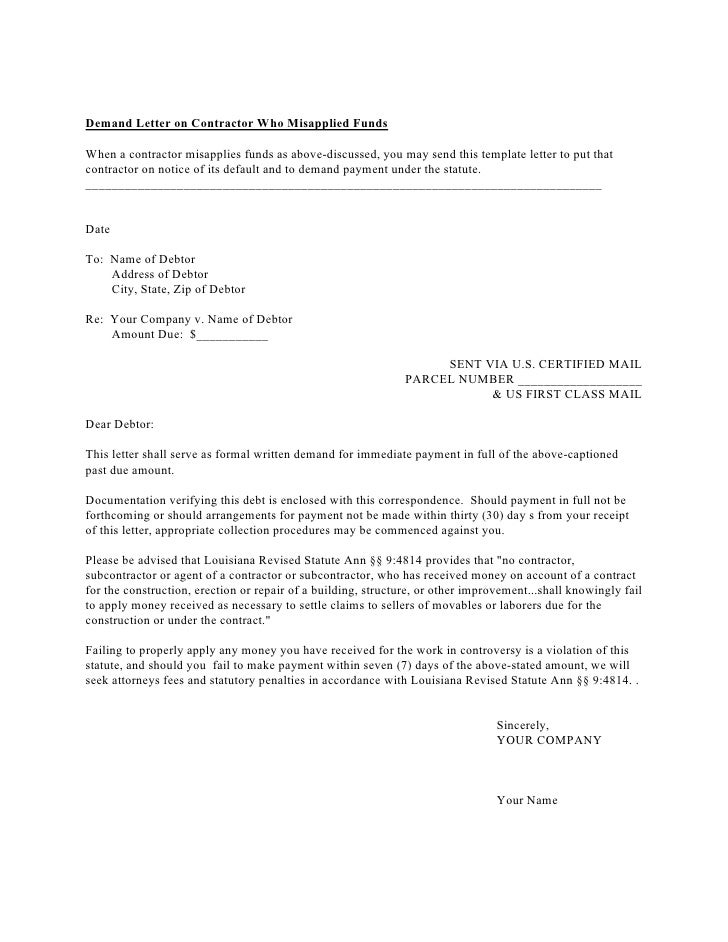 Legal Solutions In A Tough Economy - Formal demand for payment letter template