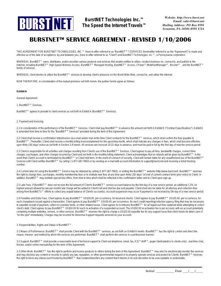 Legal Agreement Contract. Website: Http://www.burst.net ...