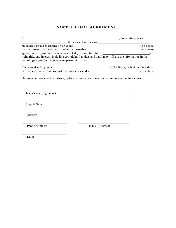 SAMPLE LEGAL AGREEMENT  I,                                                                                , do hereby give...