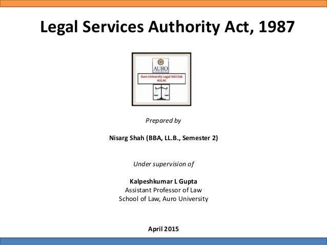 Legal Services Authority Act, 1987