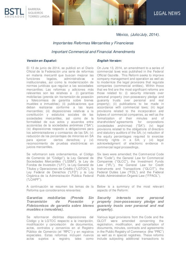 México, (Julio/July, 2014). Importantes Reformas Mercantiles y Financieras Important Commercial and Financial Amendments V...