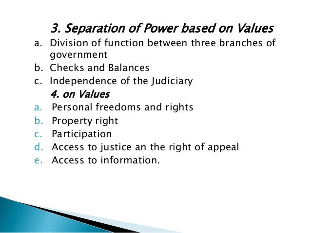 • ensures a credible and stable legal and judicialframework within a system of separation of powers,including an independe...