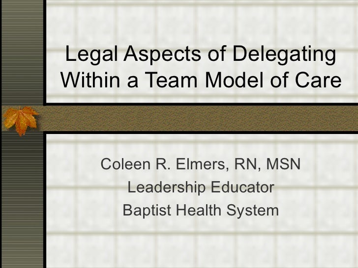 Legal Aspects of DelegatingWithin a Team Model of Care   Coleen R. Elmers, RN, MSN      Leadership Educator     Baptist He...