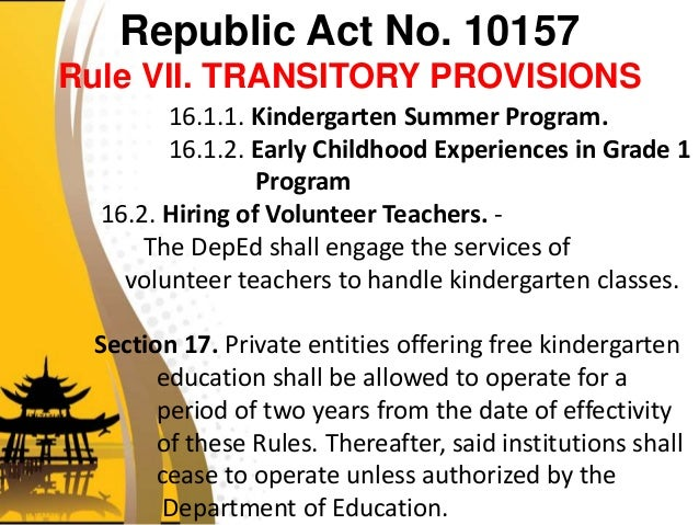 Kindergarten education act r a 10157