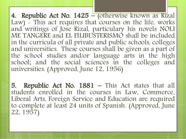 definition of rizal law