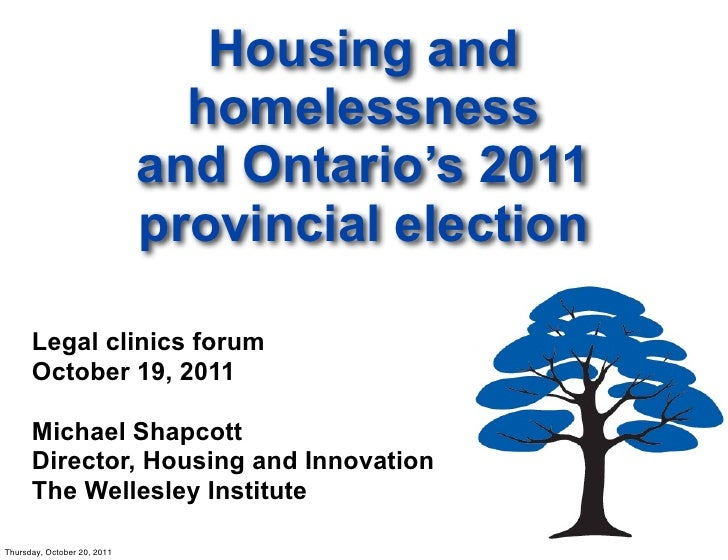 Housing and                               homelessness                             and Ontario's 2011                     ...