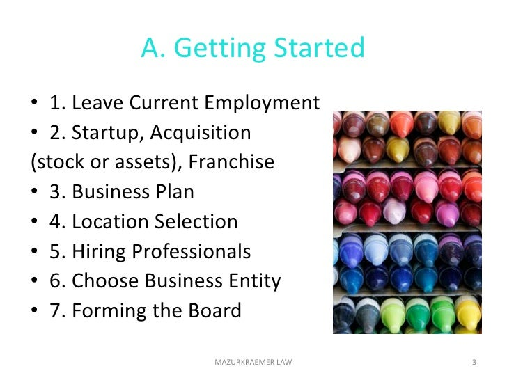 A. Getting Started<br />1. Leave Current Employment<br />2. Startup, Acquisition <br />(stock or assets), Franchise<br />3...