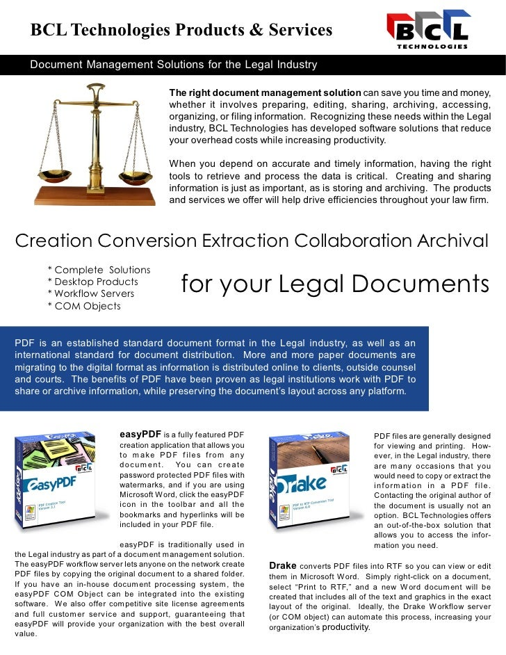 BCL Technologies Products & Services     Document Management Solutions for the Legal Industry                             ...