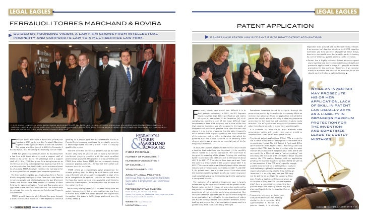 LEGAL EAGLES  FERRAIUOLI TORRES MARCHAND & ROVIRA    guided by founding vision, a law firm grows from intellectual    prope...