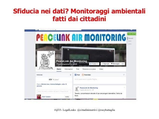 #ijf15- LegalLeaks @cittadinireattivi @rosybattaglia Sfiducia nei dati? Monitoraggi ambientali fatti dai cittadini