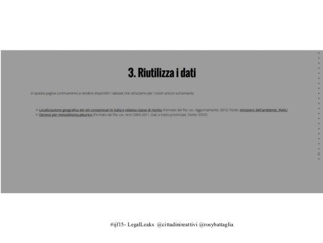 #ijf15- LegalLeaks @cittadinireattivi @rosybattaglia Il dialogo con la PA: dal tweet allo storify https://storify.com/rosy...