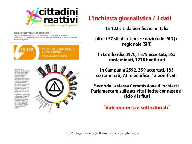 #ijf15- LegalLeaks @cittadinireattivi @rosybattaglia L'inchiesta giornalistica / i dati 15 122 siti da bonificare in Itali...