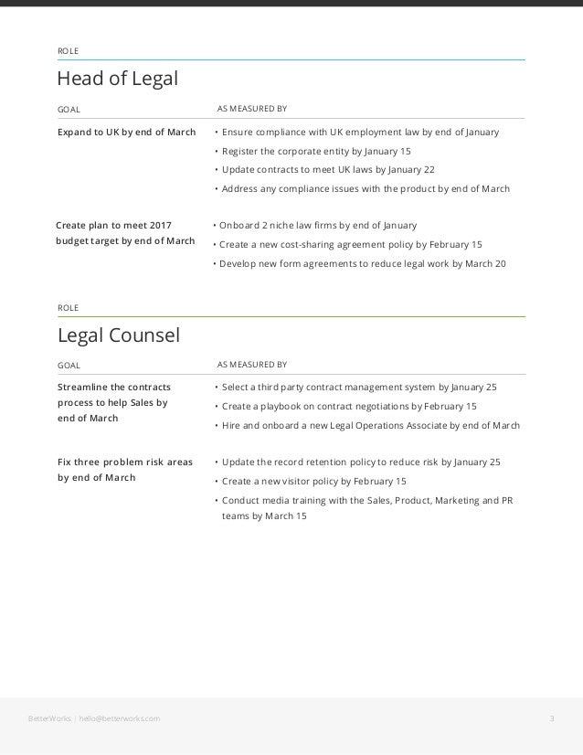 Goal Examples for Legal Slide 3